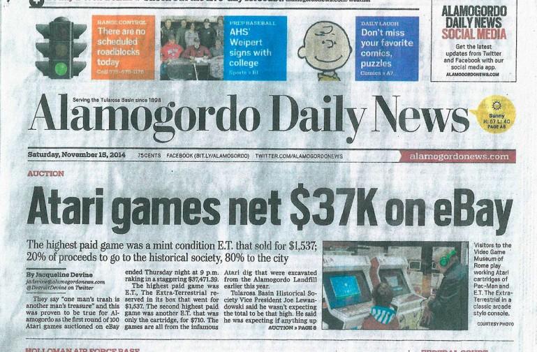 Novmber 2014 - Schlagzeilen zum Verkauf der Atari-Games